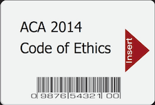 "Smart Code with ""ACA 2014 Code of Ethics"" Written On It"