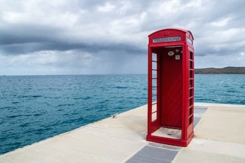 British Phone Booth With Shower In It