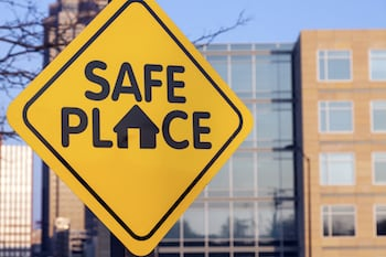 "Sign that says ""Safe Place"""