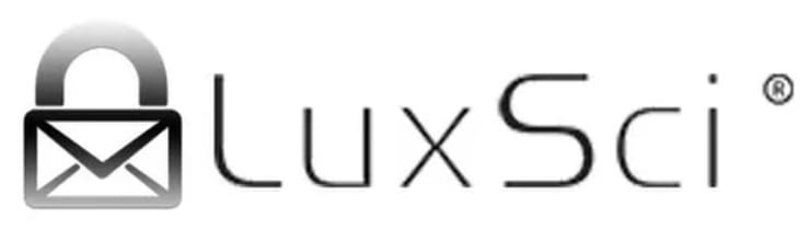 "The logo of Luxsci which is an image of an envelope merged with the image of a padlock, followed by the word ""LuxSci."""
