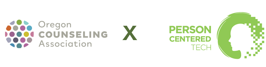 Oregon Counseling Association Logo next to Person Centered Tech Logo with an X between them