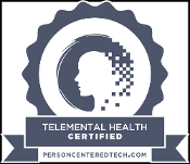 "Logo Inside Ribbon That Says ""Telemental Health Certified"""