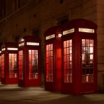 Row of British phone booths