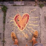 Heart chalked onto sidewalk