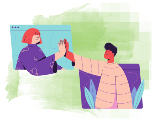 two people high fiving through screens