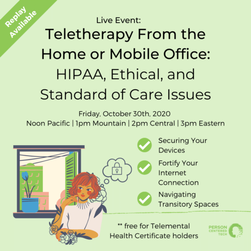 Teletherapy form the home or mobile office event card.