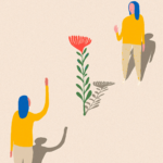 illustration of two people waving separated by a flower